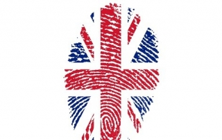 A fingerprint in the British flag print on white background