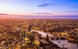 Aerial photo of Central London at sunset