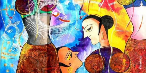 Painting from the Hijra series by Meenakshi Jha Banerjee
