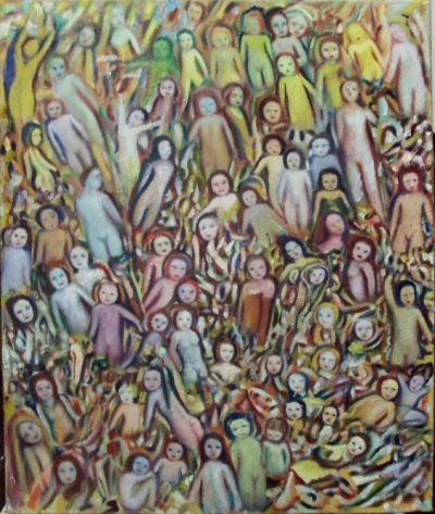 Painting of a crowd of naked children and young women