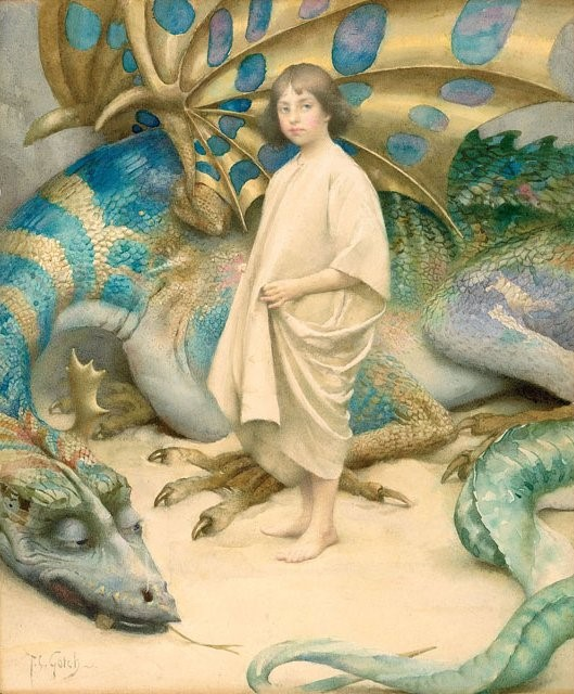 Picture of a child with a sleeping dragon