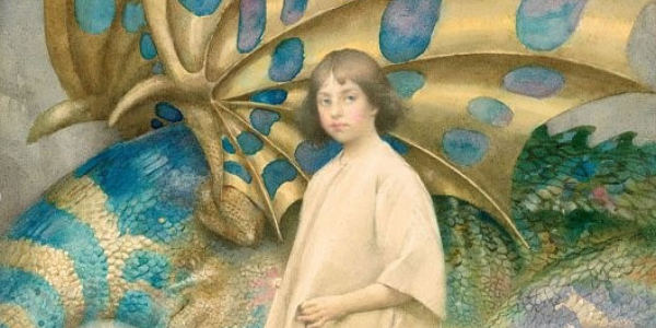 Picture of painting Innocence, picturing a child with a sleeping dragon