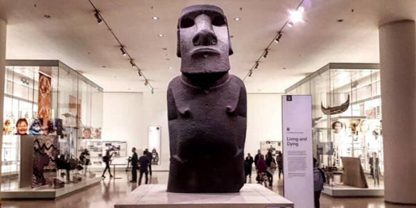 Photo of a Moai statue from the Easter Islands