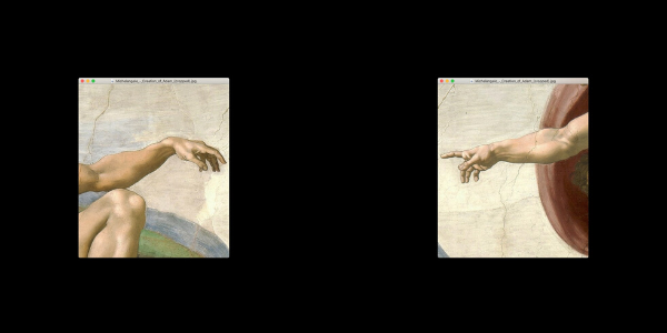 Picture of old fresco of Adam and God, however, apart from each other due to social distancing
