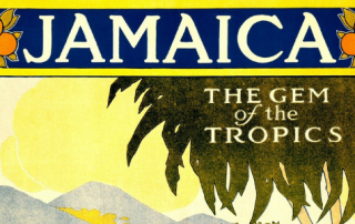 "Vintage travel poster reading ""Jamaica, the Gem of the Tropics"" showing palm tree and beach landscape"