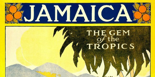 """Vintage travel poster reading """"Jamaica, the Gem of the Tropics"""" showing palm tree and beach landscape"""