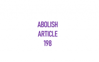 "Block text reading ""Abolish Article 198"""