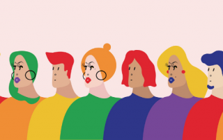 Illustrated people of various gender expressions standing in a line wearing rainbow colours
