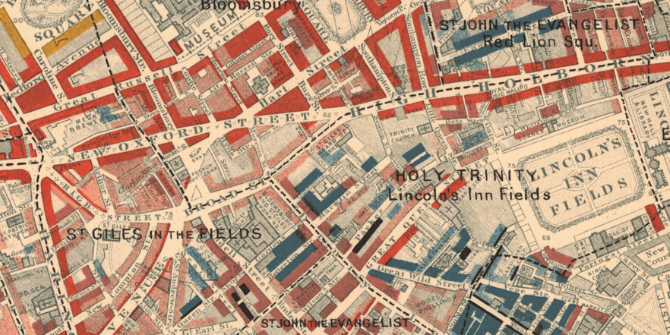 Charles Booth Map Descriptive of London Poverty 1898-1899. Sheet 6. West Central District Covering: Westminster, Soho, Holborn, Covent Garden, Bloomsbury, St Pancras, Clerkenwell, Finsbury, Hoxton and Haggerston