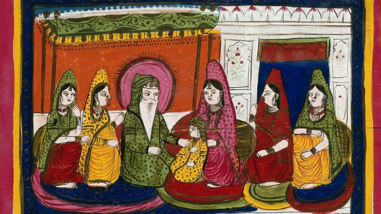 Gouache painting of Ranjit Singh, Maharaja of the Punjab, with his child and wives. Artist unknown; image courtesy of Wellcome Collection.