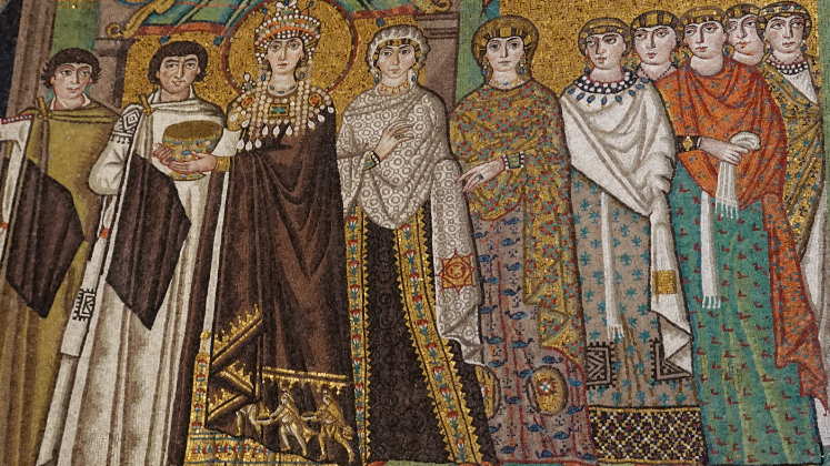 Mosaic showing Empress Theodora and attendants, completed in 526; Basilica of San Vitale, Ravenna