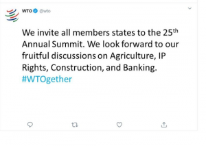 An 'Ice breaker' tweet from the WTO team