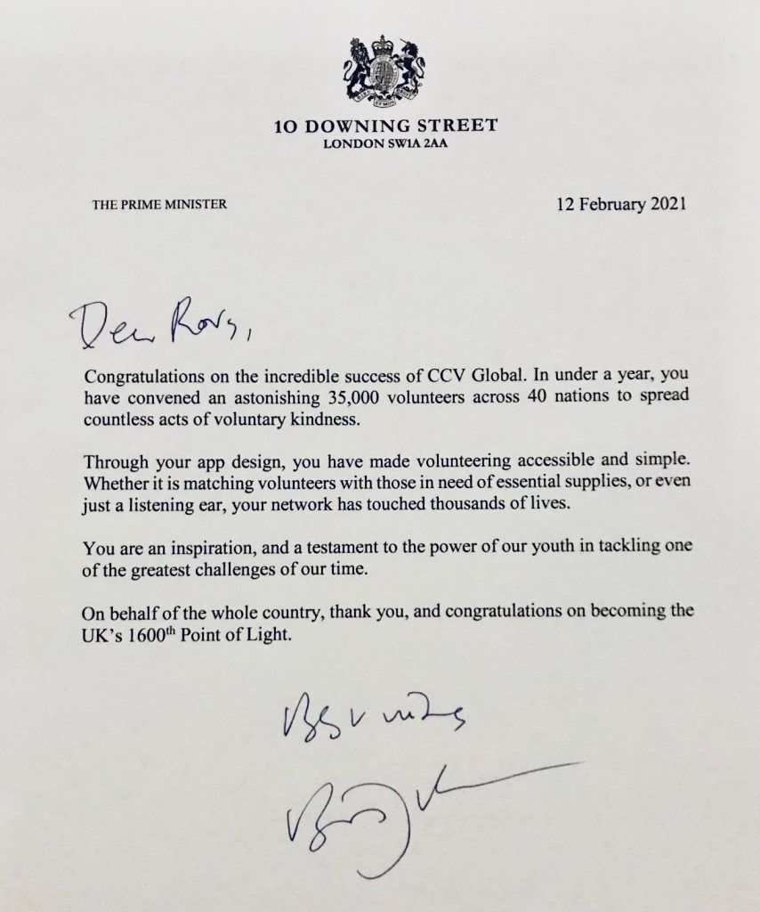 Letter from Prime Minister Boris Johnson to Rory Moore