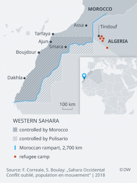 """Source: F. Correale, S. Boulay """"Sahara Occidental Conflit oublie, population en mouvement"""" 2018"""