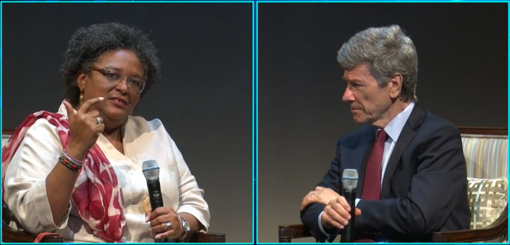 Mia Mottley and Jeffrey Sachs in conversation at the UWI Sustainable Island Futures event on 21 June 2021.