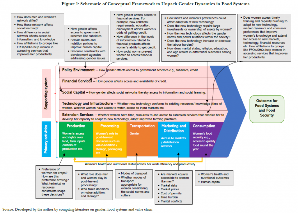 Diagram of conceptual framework for analysing gender dynamics in food systems