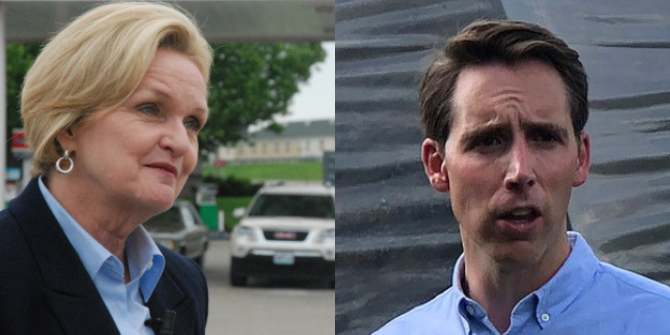 In Missouri's Senate race, Claire McCaskill is tacking to the center to fend off Josh Hawley's partisan warfare.