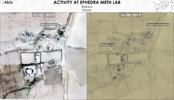Two satellite maps showing a meth lab in Bakwa, Farah still functioning despite a downturn in both oman and meth prices and recent interdiction efforts