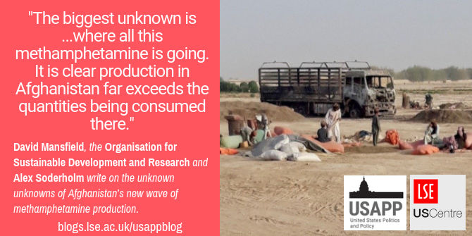 "Promo image with the text ""The biggest unknown is ...where all this methamphetamine is going. It is clear production in Afghanistan far exceeds the quantities being consumed there."""