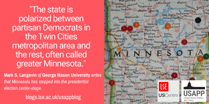 """The state is polarized between partisan Democrats in the Twin Cities metropolitan area and the rest, often called greater Minnesota."" Mark S. Langevin of George Mason University writes that Minnesota has stepped into the presidential election center-stage."