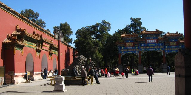Red Scarves Square (Honglingjing Guangchang). Many of the large squares in the park offer enough room for park users to gather in numbers -). Like other public places, it is carefully monitored by video surveillance and patrolling security guards. (13 March 2013; Photographed by Lisa Richaud)