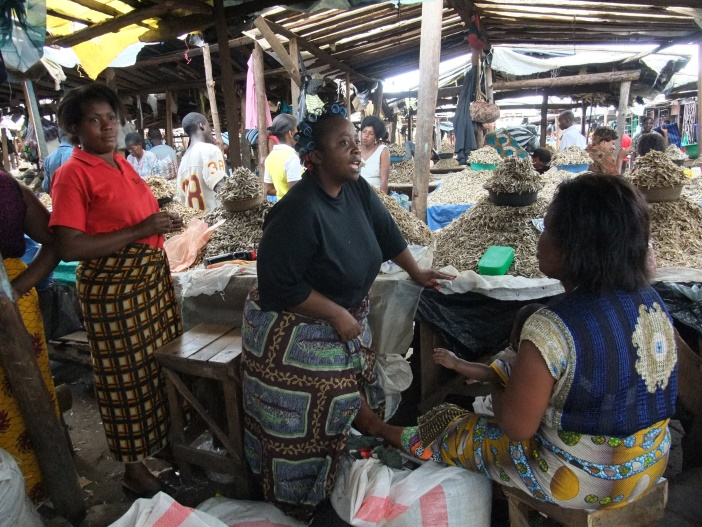 Female market traders, selling dried sardines, or rather conversing in the absence of customers