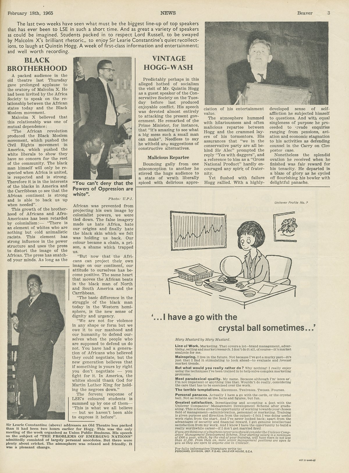 The Beaver, 18 February 1965. Article on Malcolm X speaking at LSE.