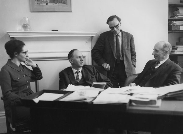 Greater London Group, 1968. Left to right: Mary Lamberth, Peter Self, Gerald Rhodes, William Robson.