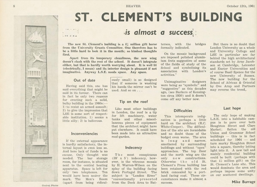 St Clement's Building review - Beaver 12 Oct 1961