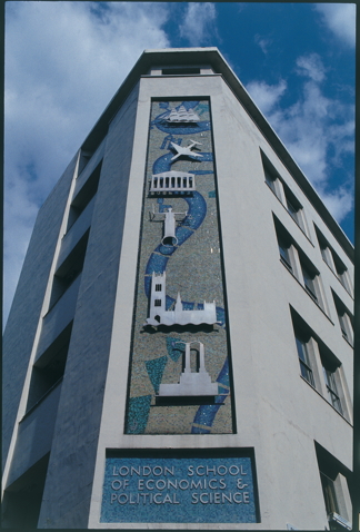 Harry Warren Wilson's mural on LSE St Clement's building on the corner of Portugal Street and Clare Market. Credit: LSE