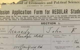 JFK's LSE application form. Credit: LSE Library
