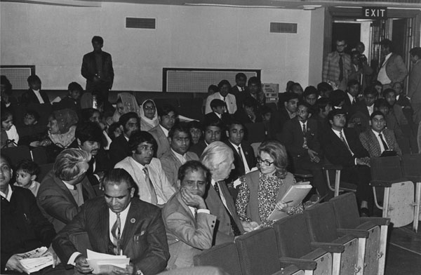 Lord Robbins and Shirley Chapman (Information Officer), centre, in the audience in the Old Theatre at the presentation of portrait of Dr B R Ambedkar by the Dr Ambedkar Memorial Committee, Great Britain, 25 September  1973. IMAGELIBRARY/648. LSE