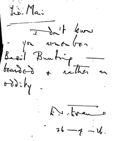 """Letter to Mrs Mair from Eve Evans, 26 April 1916. """"I don't know if you remember Basil Bunting - bearded and rather an oddity."""" LSE"""