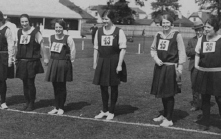 Women lining up for a race, LSE Sports Day at Malden, 1920s