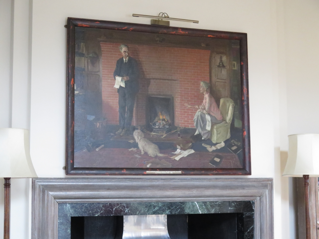 The Webb portrait above the fireplace in the Shaw Library. Photo taken by Sue Donnelly