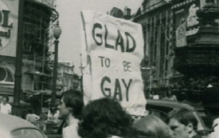 Glad to be Gay banner, LSE archives