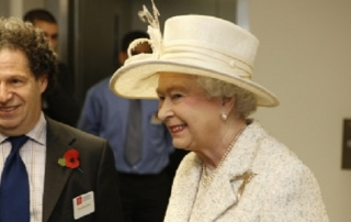 Professor Saul Estrin with HRH Queen Elizabeth as she meets with students at the opening of the LSE New Academic Building (NAB) in Lincoln's Inn Fields on the 5th November 2008