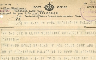 Telegram sent to William Beveridge from Buckingham Palace, 1942. Credit: LSE Library