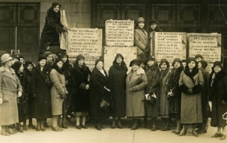 British WILPF members arriving in Zurich with the Disarmament petition, 1932 credit LSE Library