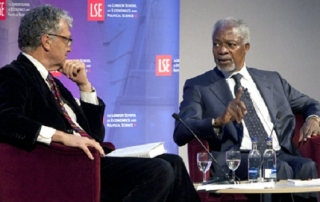 Kofi Annan and William Shawcross, credit Nigel Stead LSE 2012