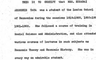 Herabai Tata certificate of attendance at LSE