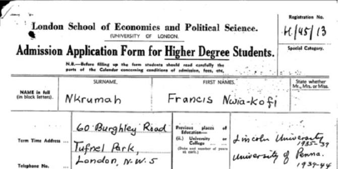 Kwame Nkrumah (1909-1972) – a term at LSE
