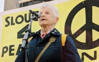 Pat Arrowsmith at a march from Aldermaston to Trafalgar Square 2004. Credit: LSE Library