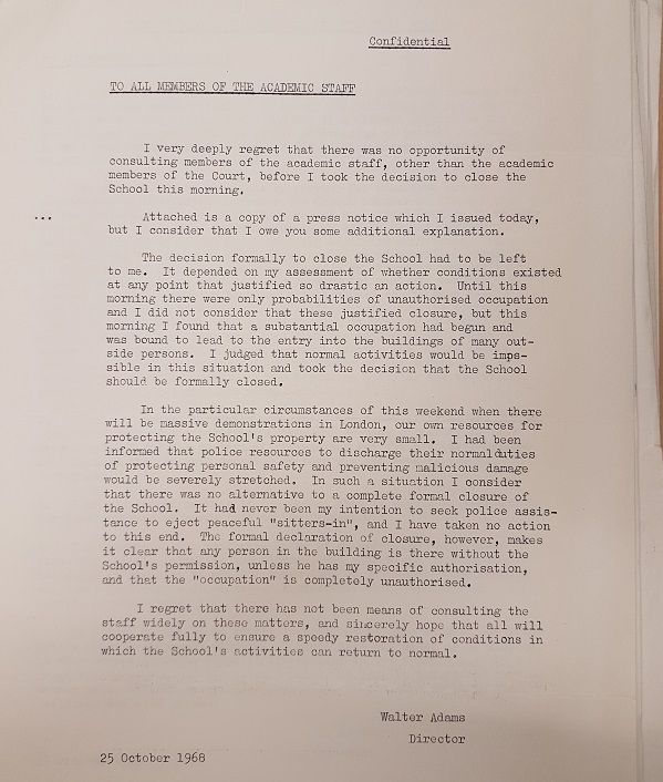 Adams' decision to close the School, 25 October 1968. Credit: LSE