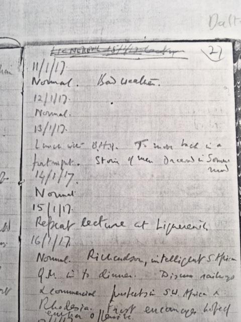 Dalton's diary. Credit: Alma Simba