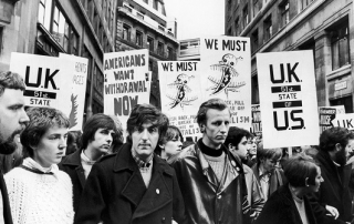 EMGNEW Marchers protest in Aldwych, London during a mass Anti Vietnam war rally. 27th October 1968.