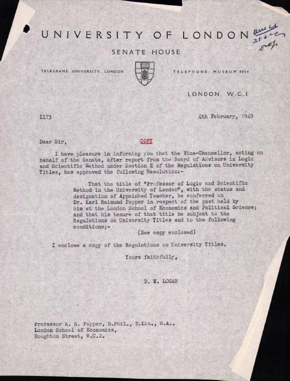 Popper's Letter of Promotion