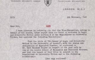 Popper promotion letter 1949