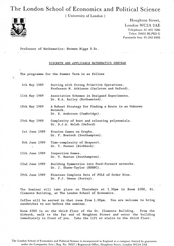 Research seminars 1989. Credit: LSE