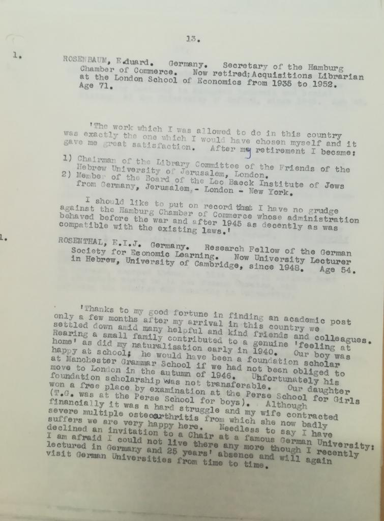 Academic Assistance Council Report on Eduard Rosenbaum